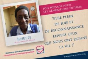Message pour la vie - Josette - Personne âgée